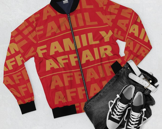 Family Affair Men's Bomber Jacket, Red and Gold Men's Jacket, Family Reunion Jacket, Winter Gear