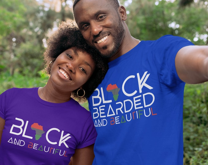 Black Bearded Beautiful short sleeve t-shirt, Dad gift, Beard Gang Tee, Gift for him, Birthday gift, African American husband gift