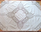 Vintage Embroidered Tablecloth, Handmade Table cloth White color Cotton and Linen with crochet lace, Table topper