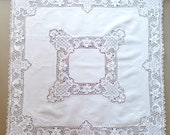 Vintage Embroidered Small Tablecloth, Handmade Table cloth White color Cotton and Linen with crochet lace, Table topper