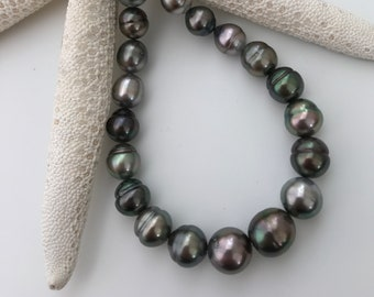 Exceptional Luster and Natural Multi Color Tahitian Cultured Pearl Strand 9-11mm Unbelievable Gorgeous Colors