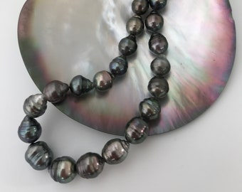 Very Affordable Baroque Tahitian Lovely Natural Color Cultured Pearl Strand 8x10mm