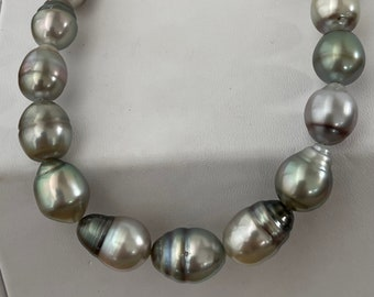 Lovely Multi Natural Color Tahitian Cultured Pearl Strand 10-11.7mm