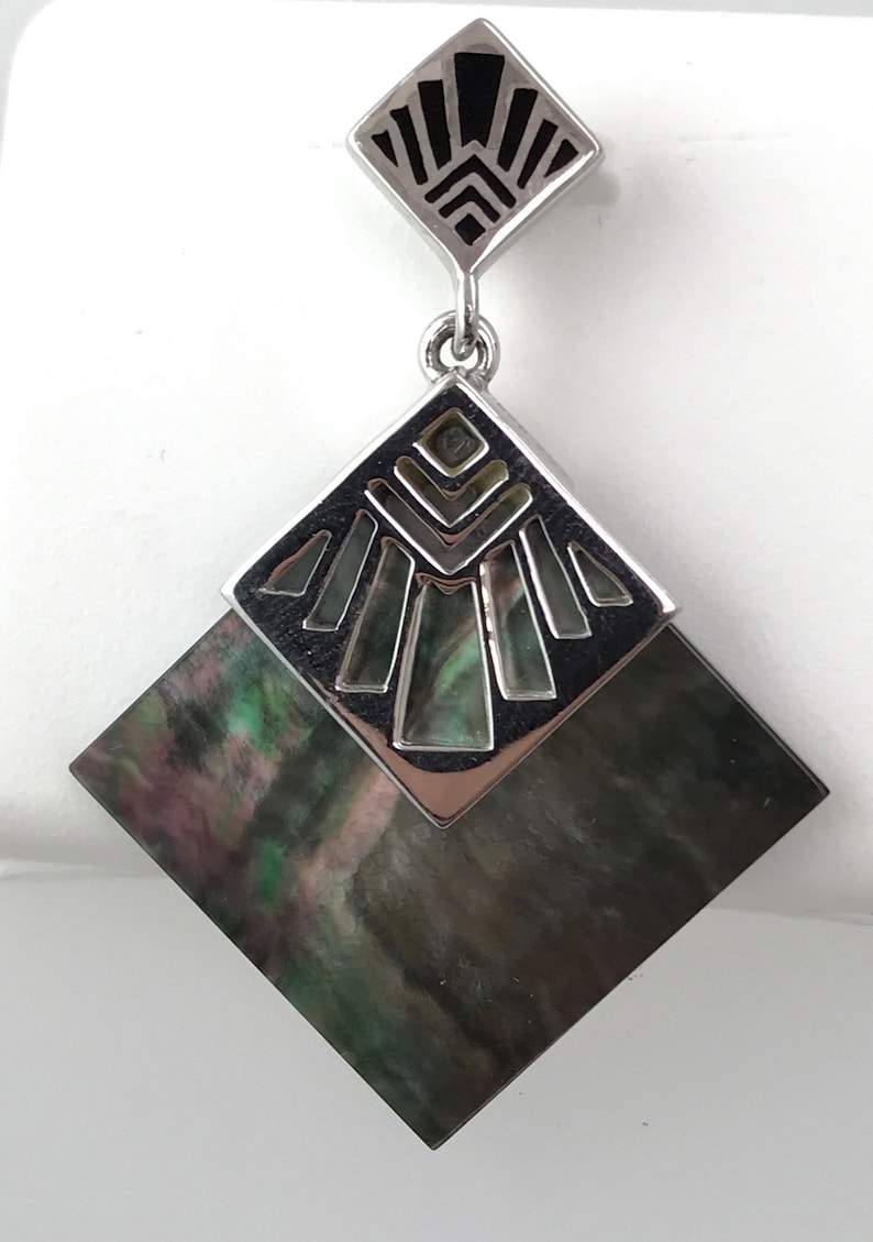Tahitian Mother of Pearl Pendant with Polynesian Motifs