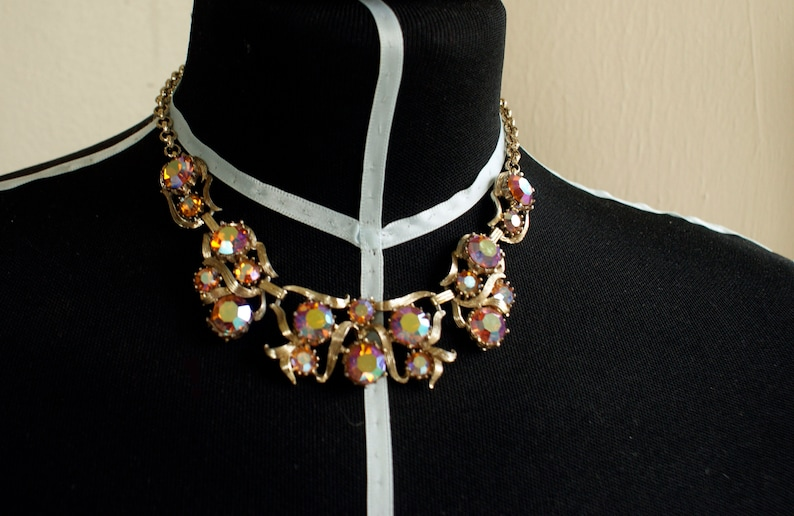 Vintage Iridescent Crystal Necklace