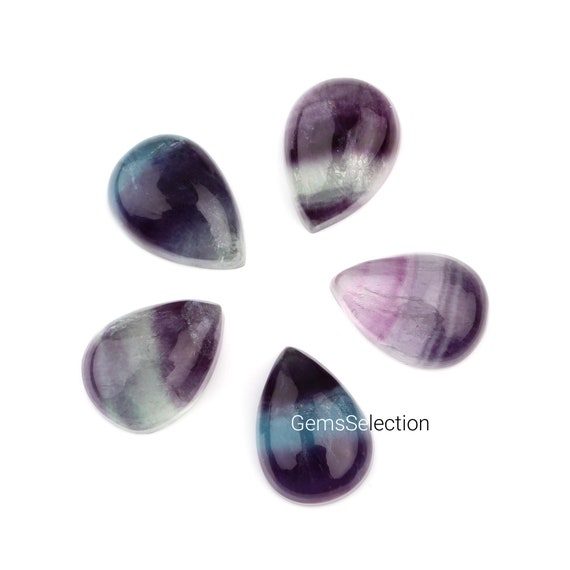 Fluorite Cabochons Purple Oval Calibrated 8 x 10mm Pack Of 4