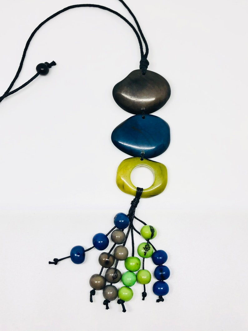 boho necklace Tagua rustic necklace hippie jewelry one of a kind piece bohemian necklace handmade necklace colorful necklace necklace