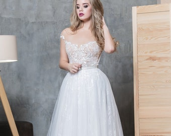 e3adbb6d0c bridesmaid dress boho lace bohemian tulle ivory a-line dress open back ball gown  wedding dresses in bulk wholesale plus size unique Chantily