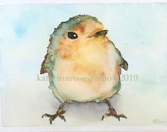 Baby Watercolor Robin Giclée Print