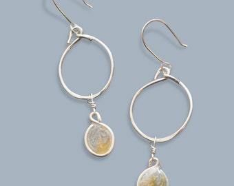 handmade lightweight womens rustic bar dangle earrings with white pearls Beads by Bettina