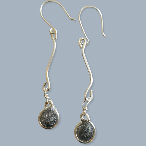 Sterling Silver Squiggle and Loop Earrings Handcrafted