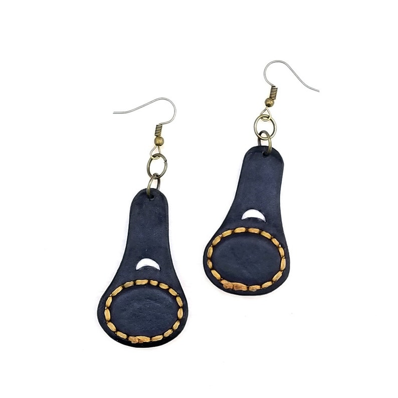 Boho Leather Earring with Turquoise Stone setting