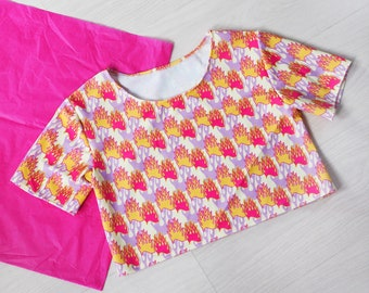 Flaming Dice Crop T-shirt Top Shirt Tee Cropped Fashion 90/'s retro Grunge Fire Flames