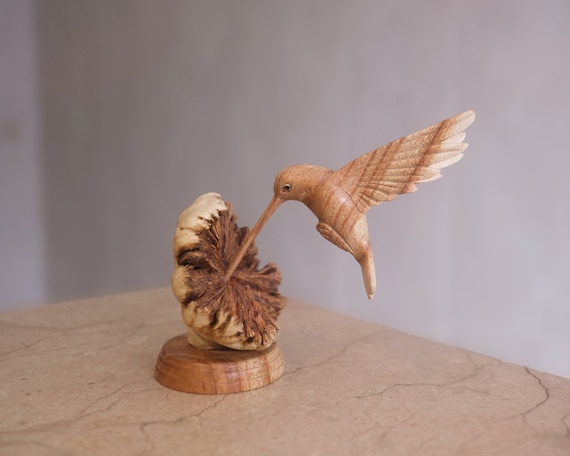 Wooden Bird Sculpture Figurine Memorial Personalized Statue Wood Carving Birthday Gift Hummingbird Feeding on a Flower Rustic Decor