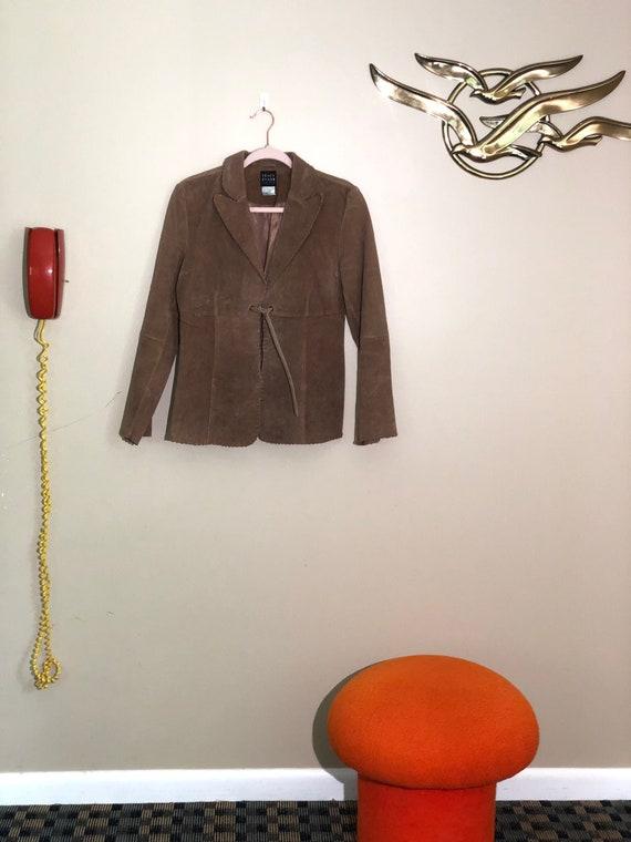 Vtg Whip Stitched tan leather jacket
