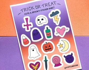 Trick or Treat Cute & Spooky Tattoo Flash Sticker Sheet