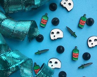 Pick Your Poison! Skull, Dagger, and Poison Bottle Mini Soft Enamel Pins