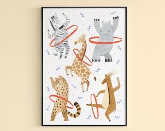 Safari Animals Nursery Print / Safari Art Print / Nursery Wall Art / Zebra, Hippo, Giraffe, Cheetah, Gazelle Illustration Print