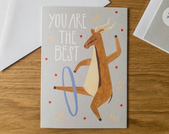Best Friend Card / Animal Thank you Card / Friendship Card / Dancing Gazelle Illustration