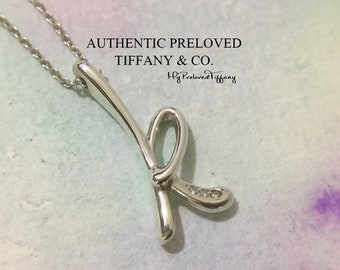 81934c05a Mint Authentic Tiffany & Co. Elsa Peretti Diamond 0.02ct Alphabet K Necklace  Silver RP625