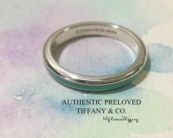 d6e245a24 Excellent Authentic Tiffany & Co Blue Enamel Stripe Silver Ring #7