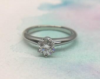 c2365faee Mint Authentic Tiffany & Co. Solitaire Diamond 0.31ct D 3EX VS1 Platinum  Ring PT950