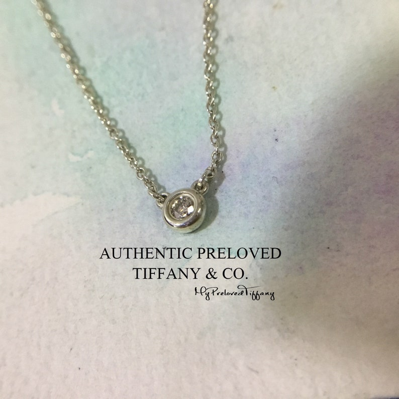 485d27e1cd0a1 Mint Authentic Tiffany & Co. Elsa Peretti By The Yard Necklace Diamond  0.03ct RP300 Silver