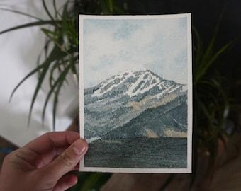 Spokane Mountain View  Handmade Screen Print