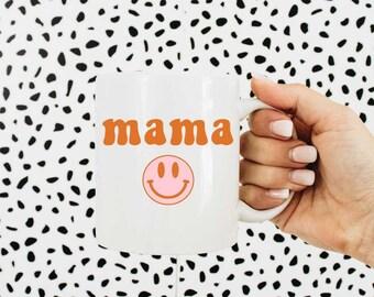 Mama Mug, Mug For Moms, Retro Smiley Face Positivity Mug, Be Happy Mug, Motivational Mug, Gift for Mom, Mothers Day Gifts, Birthday Gift