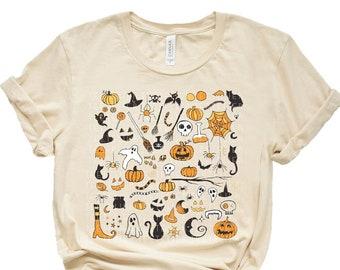 Halloween Little Things Doodles Shirt, Cute Halloween Tee Shirt, Halloween Graphic Shirt, Pumpkin Witch Ghost Spooky Mom Shirt