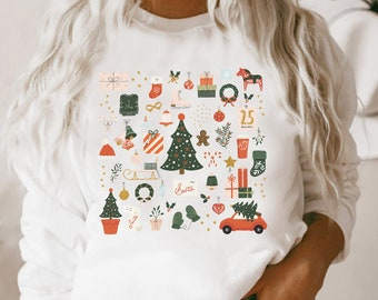Christmas Sweatshirt, Holiday Sweatshirt Little Things Favorites Doodles, Xmas Crewneck Pullover Sweater Apparel Gift For Her, Plus Sizes