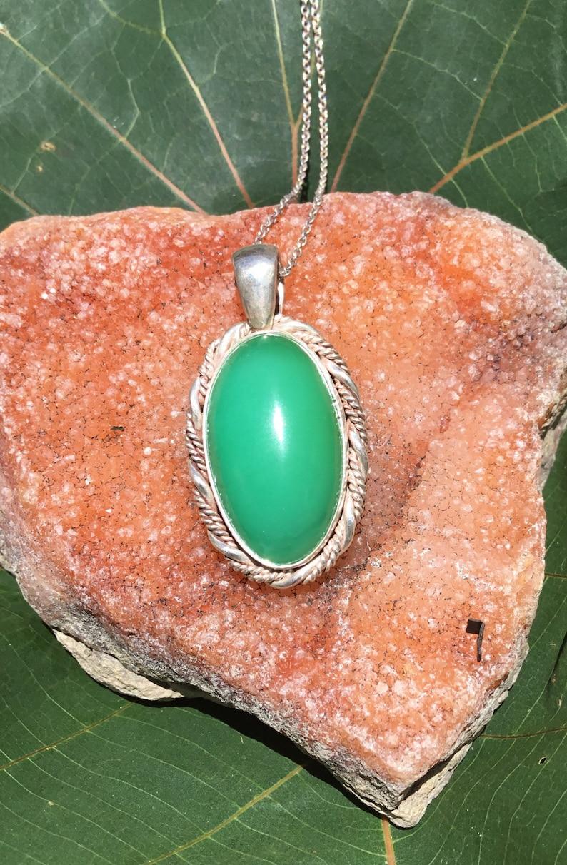 Australian Jade Unique Handmade Jewellery Chrysoprase PendantNecklace set in Sterling Silver