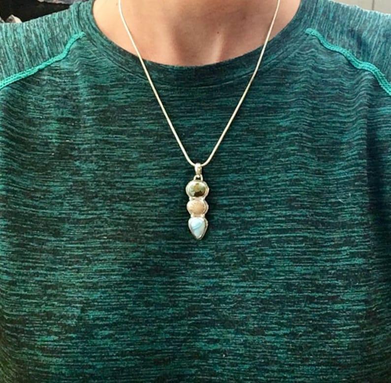 Fossilzed Coral Rainforest Jasper Unique Handmade Jewellery Tropical Ocean inspired Jewellery Larimar Sterling Silver PendantNecklace
