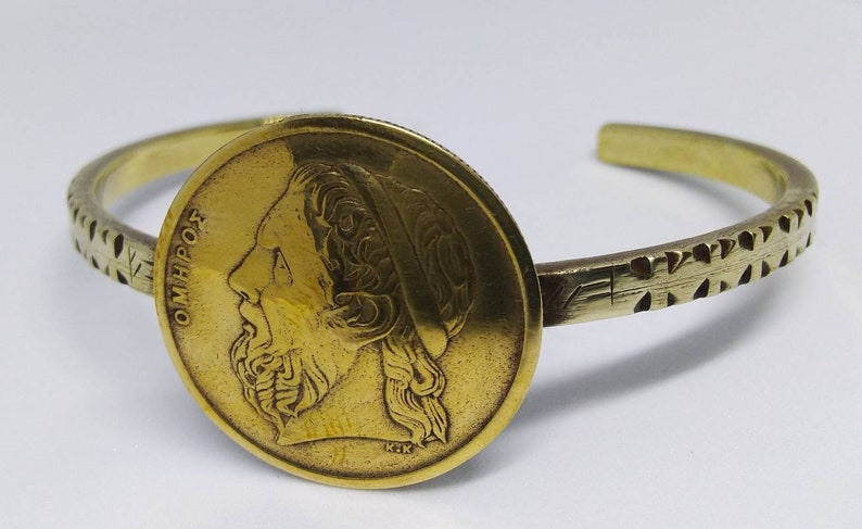 One Of A Kind Travel Jewelry Minimal Recycled /& Reused Handmade Coin Bracelet Brass Bracelet Greek 50 Drachma Coin
