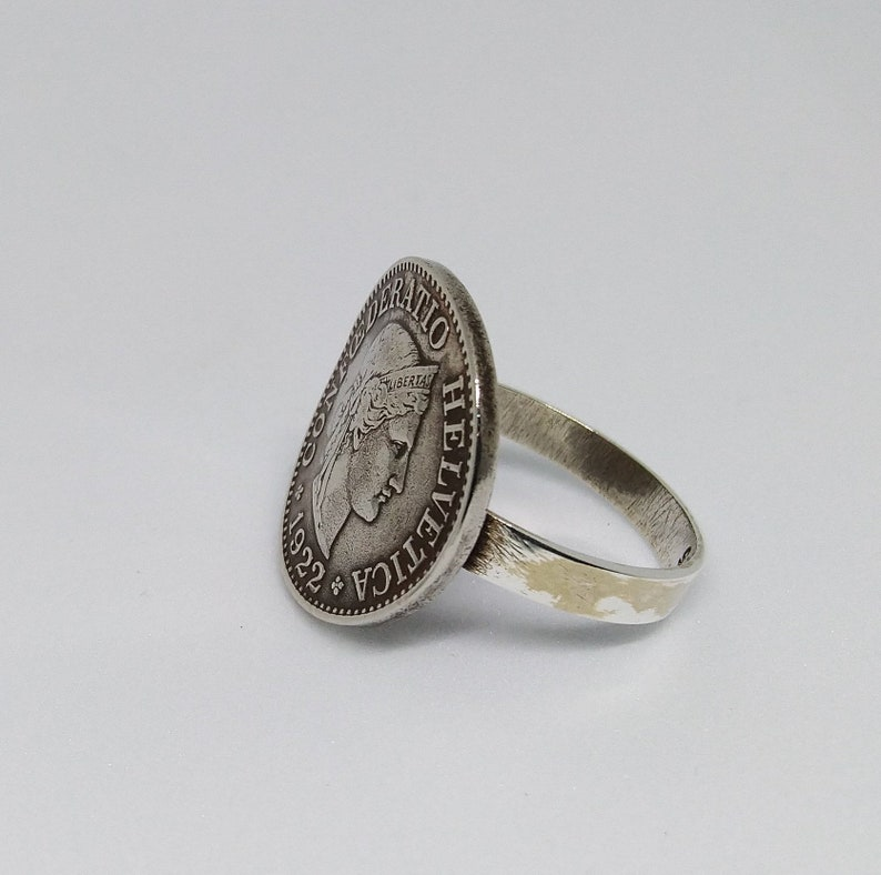 Handmade Vintage Coin Ring One Of A Kind Travel Jewelry Minimal Recycled /& Reused Switzerland 10 Rappen Coin Sterling Silver Ring