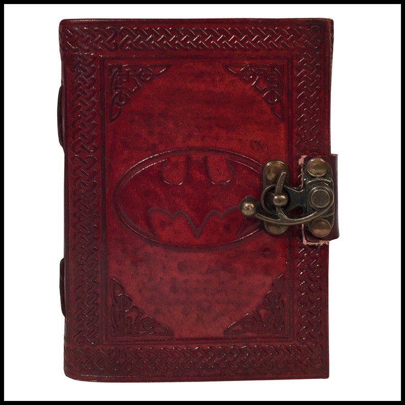 Batman embossed Leather Journal /& Handmade Paper Diary Notebook  For Personal Use or Gift and Office Supplies Size 6 x 4.5 inches Brown