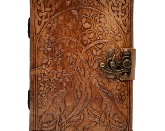 Wolf Embossed Leather Journal Personal Organizer /Diary and Travel Companion (5 x 7 Charcoal Brown)
