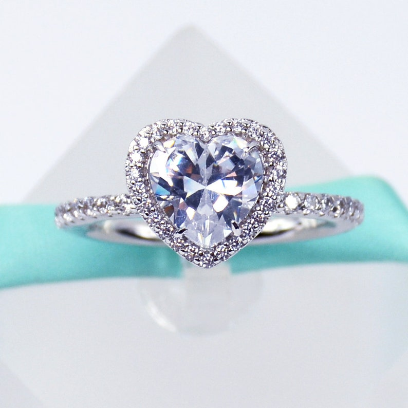 b4681108e26be White Heart Simulated Diamond Cubic Zirconia cz Promise Ring Engagement  Ring, 925 Sterling Silver, Platinum Plated
