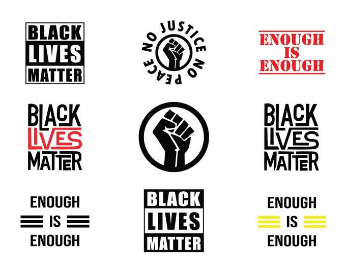 Black Lives Matter Bundle - 9 File Types - Cricut or Silhouette Die Cut Sublimation Clip Art Graphics - Instant Digital Download