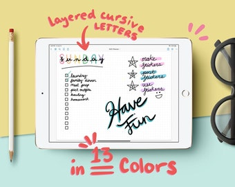 Layered Cursive Letter Digital Stickers in 13 Colors - Individual PNGs and Goodnotes Sticker Book - Goodnotes, Notability, Xodo