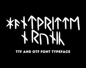 Handwritten Runic OTF/TTF Font - 81 Rune Glyphs with 4 Variations Each - Unicode Character Set Text File Included - Instant Digital Download