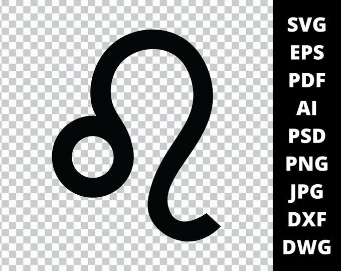 Leo Zodiac Sign Symbol - 9 File Types - Cricut or Silhouette Die Cut Sublimation Clip Art Graphics - Instant Digital Download