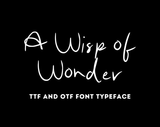 A Wisp of Wonder Font - OTF & TTF - Cricut or Silhouette - Instant Digital Download