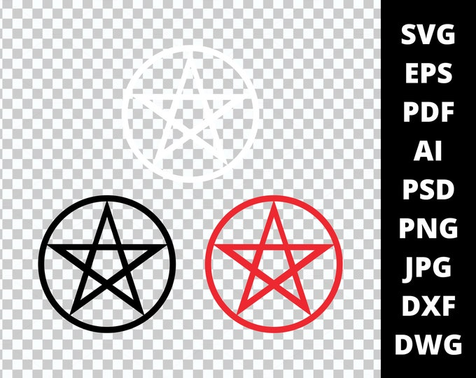 Wicca Pagan Pentagram Pentacle Svg Pdf Png Eps Dwg Dxf Layered Silhouette Cricut Vector Die Cut & Sublimation Files Instant Digital Download
