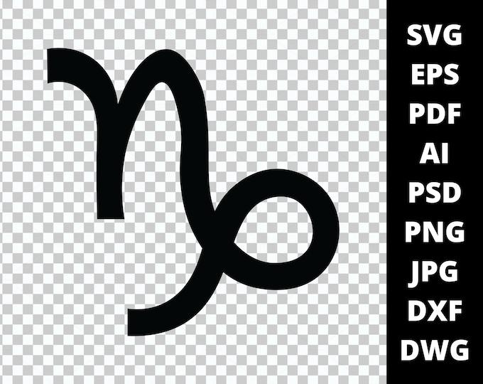 Capricorn Zodiac Sign Symbol - 9 File Types - Cricut or Silhouette Die Cut Sublimation Clip Art Graphics - Instant Digital Download