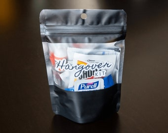 Completed/Filled Hangover Kits [16 Pieces] - Goodie Bags, Pouches, Favors, Gifts, Baggies, Grab Bags