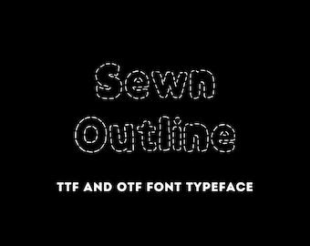 Sewn Outline Font - OTF & TTF - Cricut or Silhouette - Instant Digital Download