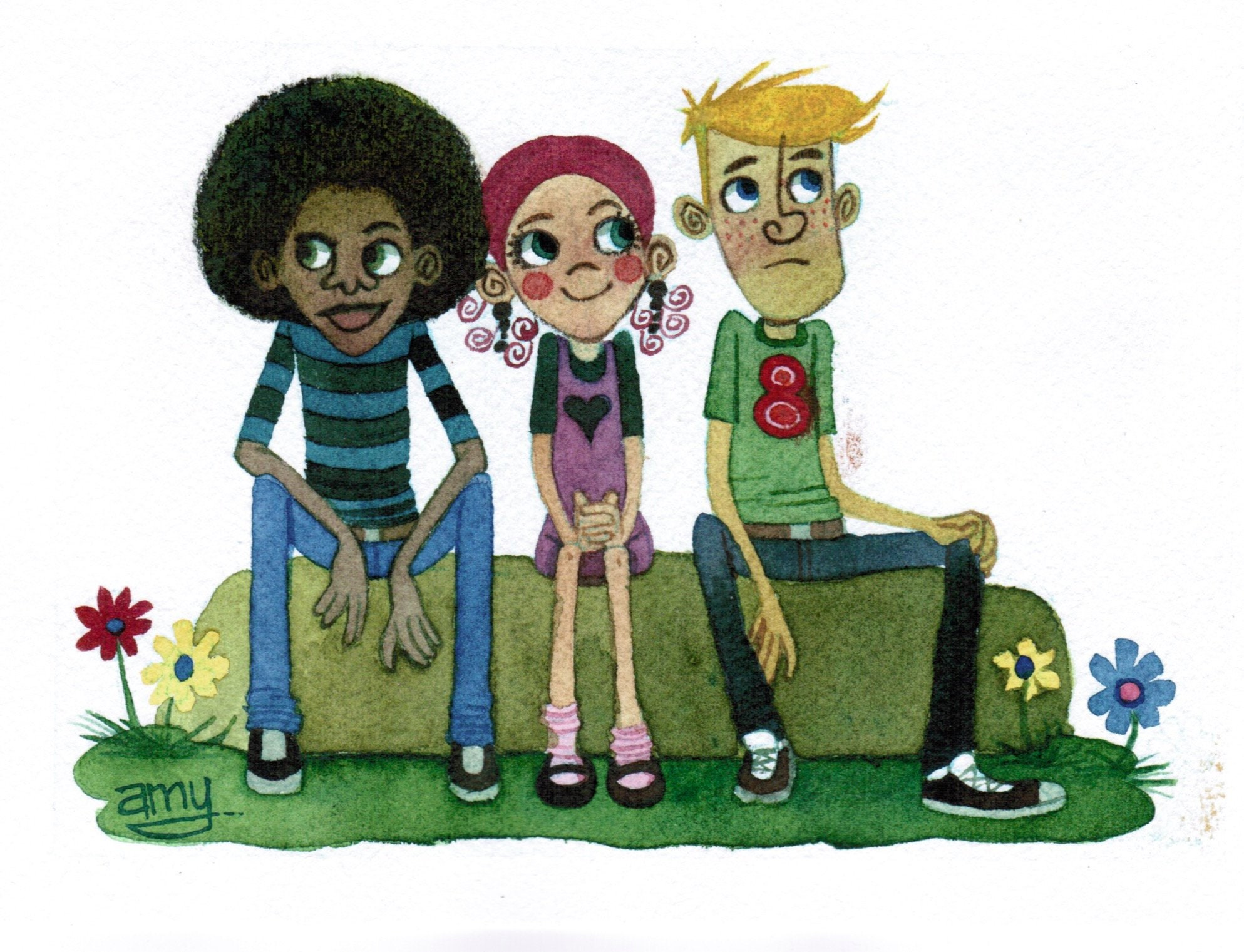 Original Cartoon Illustration Of Three Shy Teenage Friends Etsy
