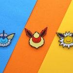 Pokemon Eeveelution Ditto Pin Set of 3 - Vaporeon - Jolteon - Flareon - Pokemon Enamel Pins - Eevee Enamel Pin - Eevee Pin Brooch