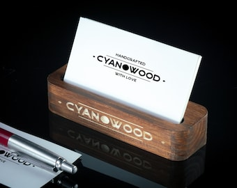 2ccb67540466 Custom Wooden Business Card Holder - Personalized Business Man Gift for  Desk Office- Engrave Name or Logo Card Stand - Contact Card Holder